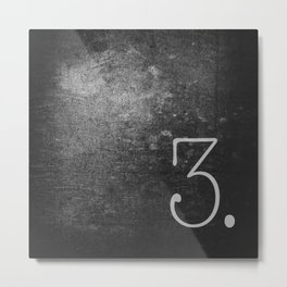 NUMBER 3 BLACK Metal Print