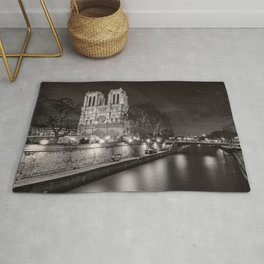 Notre Dame Cathedral, Paris, France on the River Seine black and white photograph / art photography Rug
