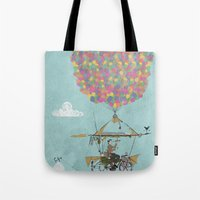 brompton Tote Bags featuring Riding A Bicycle Through The Mountains by Wyatt Design