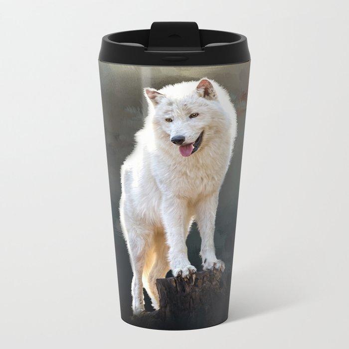 Arctic wolf Metal Travel Mug
