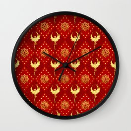 Gold Phoenix and lotus symbol pattern on red Wall Clock