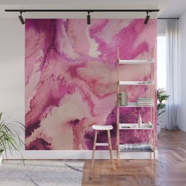 Marble Texture in Pink & Purple Swirls Wall Mural