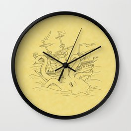 Here Be Monsters Wall Clock