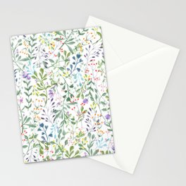 Forever Spring Watercolor Pattern | Multi-Color on White Stationery Cards