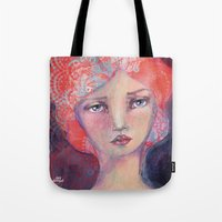 jane davenport Tote Bags featuring Folie by Jane Davenport by Jane Davenport
