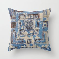 Blue Patterned Door Throw Pillow