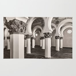 The Historic Arches in the Synagogue of Santa María la Blanca, Toledo Spain (3) Rug
