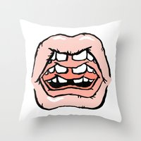 gossip girl Throw Pillows featuring GOSSIP by Wesley Bird