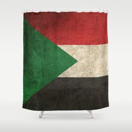 Old and Worn Distressed Vintage Flag of Sudan Shower Curtain