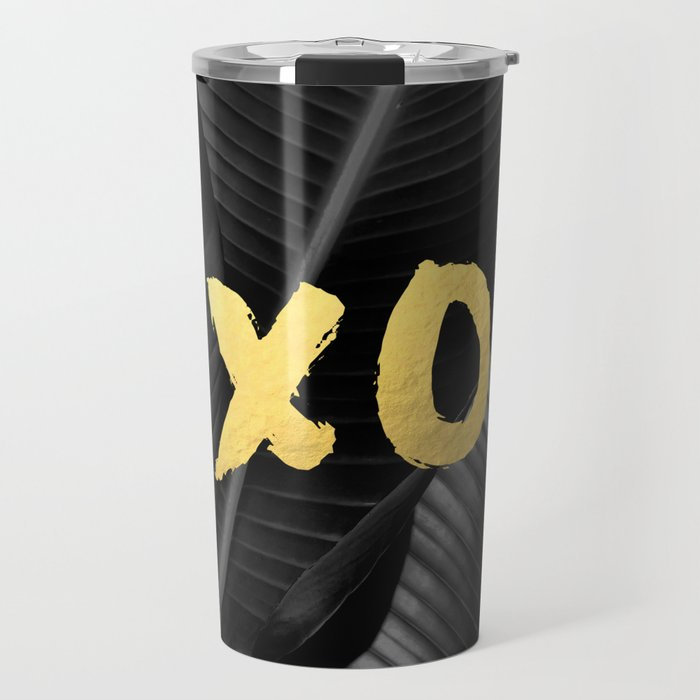 XO gold - bw banana leaf Travel Mug