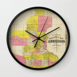 Chapman's New Sectional Map of Minnesota (1856) Wall Clock