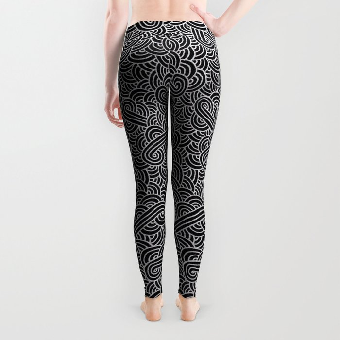 Black and faux silver swirls doodles Leggings