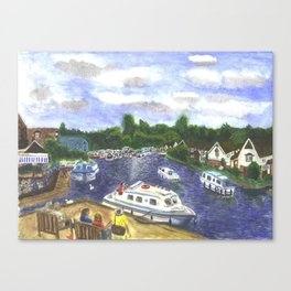 View from Wroxham Bridge, Norfolk Broads Watercolour Print Canvas Print