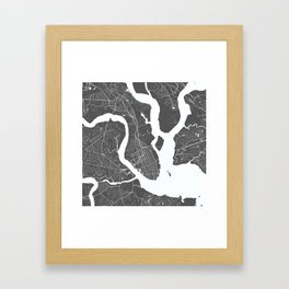 Charleston USA Modern Map Art Print Framed Art Print