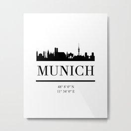 MUNICH GERMANY BLACK SILHOUETTE SKYLINE ART Metal Print