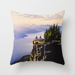 Retro travel BC poster Throw Pillow