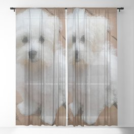 Maltese Puppy Low Poly Geometric Triangles Sheer Curtain