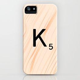 Scrabble Letter K - Large Scrabble Tiles iPhone Case