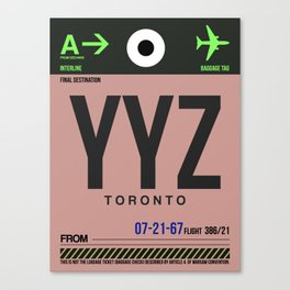 YYZ Toronto Luggage Tag 2 Canvas Print