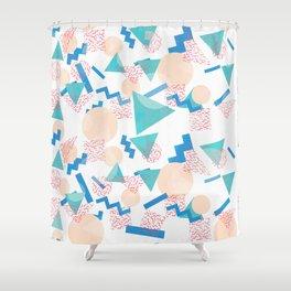 90's Pastel Geometric Pattern Shower Curtain