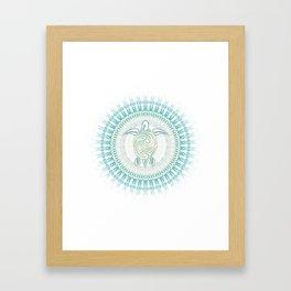 Turquoise Green Turtle And Mandala Framed Art Print