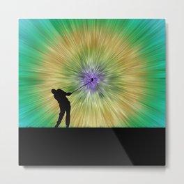 Green Tie Dye Golfer Silhouette Metal Print