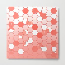 LIVING CORAL PANTONE COLOR OF THE YEAR 2019 SCATTERED HEXAGON OMBRE GRAPHIC DESIGN Metal Print
