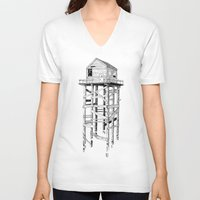 cabin V-neck T-shirts featuring cabin fever by PAFF