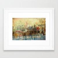 portlandia Framed Art Prints featuring Portlandia by Danielle Denham