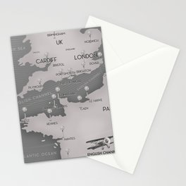 English Channel map (mono) Stationery Cards