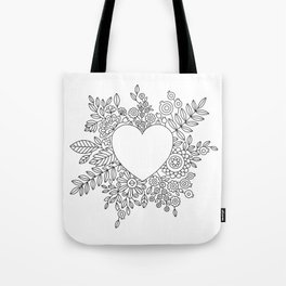 Flourishing Heart Adult Coloring Illustration, Heart and Flowers Wreath Tote Bag