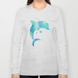 Turquoise Watercolor Dolphin Long Sleeve T-shirt