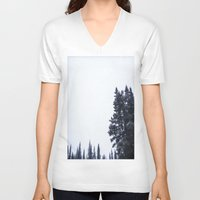 skiing V-neck T-shirts featuring Skiing Copper by Amelia Vilona