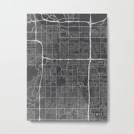 Tempe Map, Arizona USA - Charcoal Portrait Metal Print