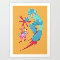 Speltöser - Mega Girl - Mega Man Art Print