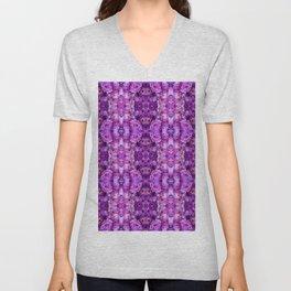 Violet Purple White Flower Pattern Unisex V-Neck