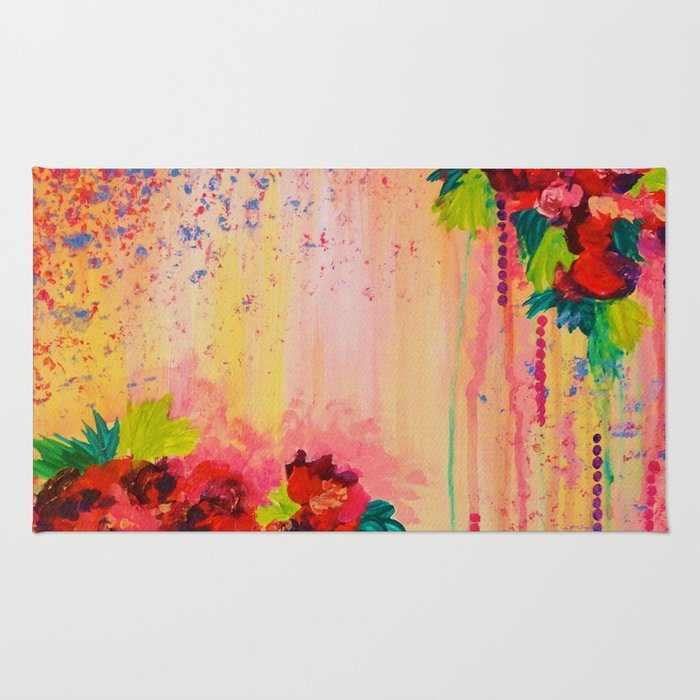 STRAWBERRY CONFETTI PAINTING Abstract Acrylic Floral Beautiful Feminine Flower Bouquet Girlie Pink Rug