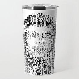Che Guevara Portrait in Words Travel Mug
