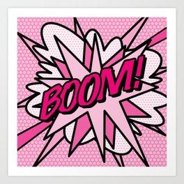 BOOM Pink Comic Book Pop Art Fun Cool Graphic Art Print