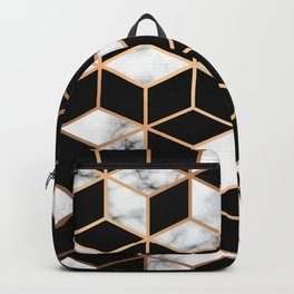 Gold and black cubes Backpack