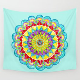 Mandala of Many Colors on Turquoise Wall Tapestry