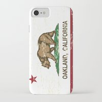 oakland iPhone & iPod Cases featuring Oakland California Republic Flag Distressed  by NorCal