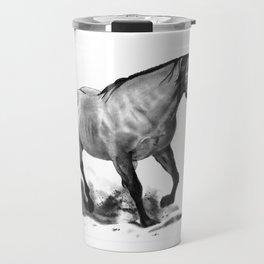 Horse Running, Pencil Drawing, Equine Art Travel Mug