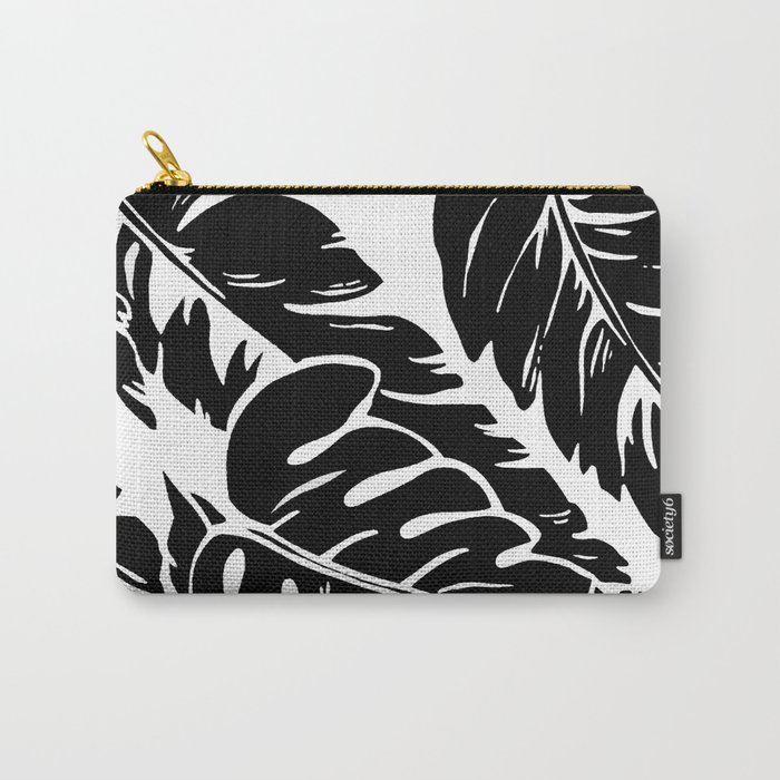 PALM LEAF BLACK Carry-All Pouch