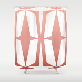Mid Century Muse: Medallion in Coral Shower Curtain