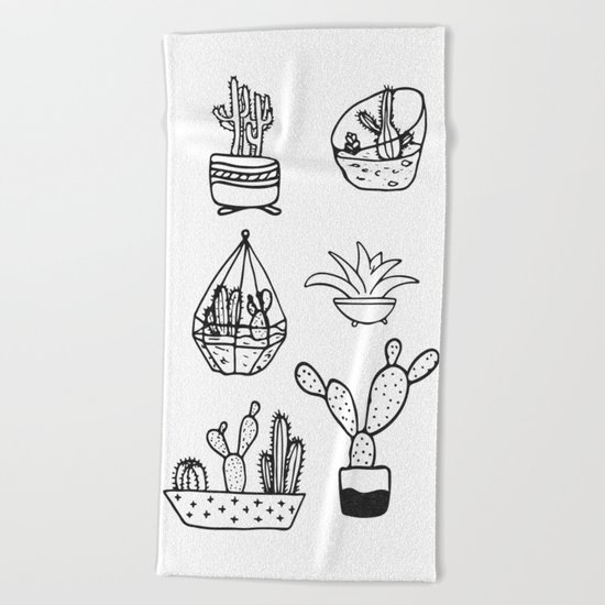 Minimalist Cacti Collection Black and White Beach Towel
