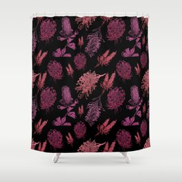 Beautiful Pink Australian Native Floral Pattern Shower Curtain