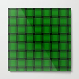 Large Green Weave Metal Print