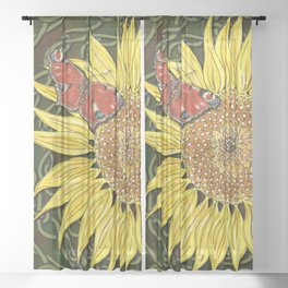 Sunflower and Peacock Butterfly Sheer Curtain