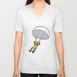 American Paratrooper Parachute Cartoon Unisex V-Neck